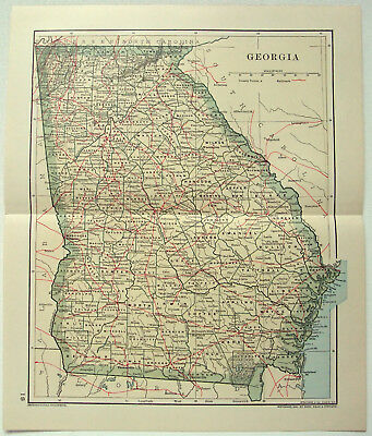 Original 1891 Dated Map of Georgia by Dodd Mead & Company. Antique