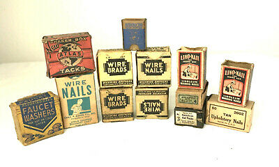 Vintage Lot Wire Nails Brads Tacks Screws Upholstery Boxes Atlas American Baker