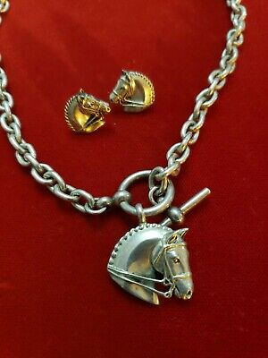 Gently Used Jane Heart Sterling Horse Equestrian Necklace & Earring Set