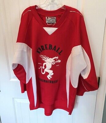 Fireball Whisky Hockey Jersey Red - Stitched Raised Lettering - Very Nice! - XL