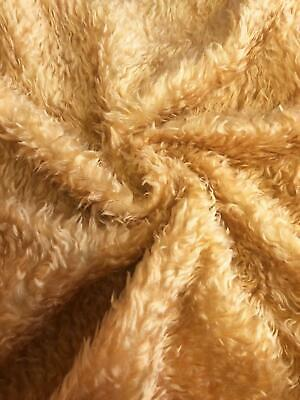 CURLY Teddy Faux Fur Fabric Material - OLD BEAR