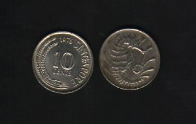 Singapore 10 Cents Km3 1967 - 1985 Sea Horse Animal Asean Money One Piece Coin