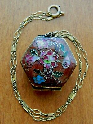Vintage Chinese Cloisonne Enamel Snuff Box Pendant Pill Box Locket Necklace~Mint
