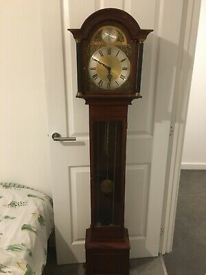 GRANDMOTHER LONGCASE CLOCK hourly chime WEIGHT DRIVEN  mahogany