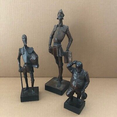 3 Ouro Artesania Don Quixote & Sancho Panza Wood Carved Figurines Made in Spain