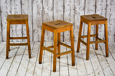 Set of 3 Wooden Vintage Industrial Cafe Bar Kitchen School Lab Stools #1