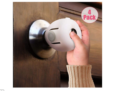 Child Proof Safe Door Knob Cover Children Safety Lock Kids Toddler Guard. 4 Pack
