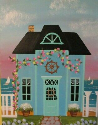 """Cottege House At The Beach--Original Acrylic Painting --12""""W X 16""""L"""