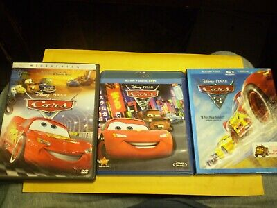 (3) Disney Pixar Cars Blu-Ray/DVD Lot: Cars 1, 2 & 3     All 3 Movies!!