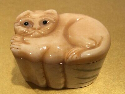 Antique Oriental Carved Hand Painted Box with Cat on Lid, signed
