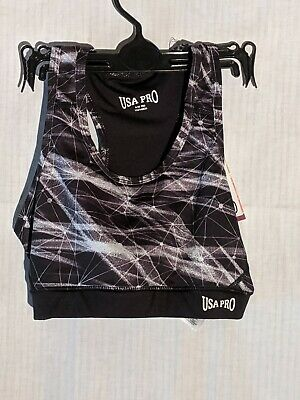 USA Pro Black and White Sports Top Age 9-10 MG
