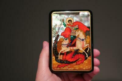 Signed Palekh Russian Lacquer Ware Trinket Box - St George & The Dragon - Vgc