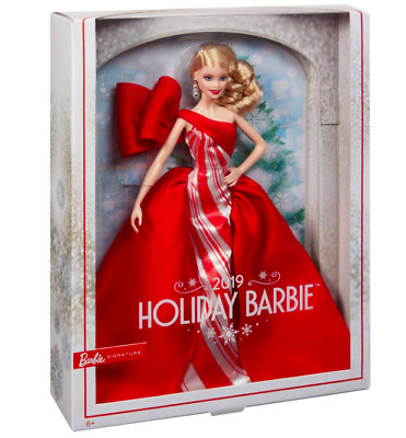 2019 Holiday Barbie Doll Mattel 11.5-inch Blonde Curls Red White Gown New In Box
