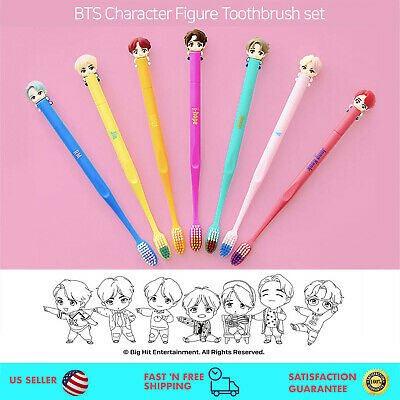 BTS Character Figure Toothbrush + Magnetic Wall Holder
