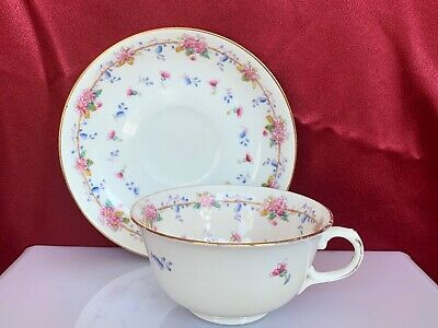 The Regent China 5951 Fine Bone China Tea Cup Saucer England Pink Blue Floral