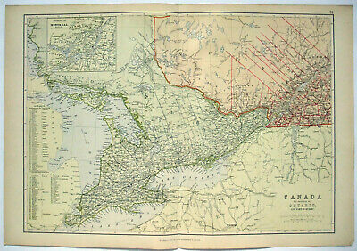 Original 1882 Map of Ontario & Part of Quebec, Canada by Blackie & Son. Antique.