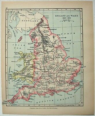 Vintage Map of England & Wales 1660-1892 by Longmans Green 1905. Antique