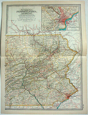 Eastern Pennsylvania - Original 1897 Map by The Century Company. Antique Map
