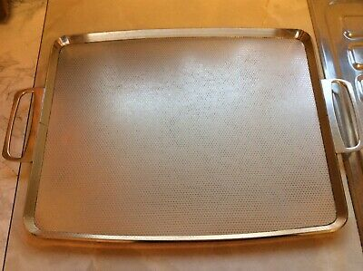 Vintage Retro Kitsch Gold Textured Large Metal Woodmet Products Tray 60s 70s