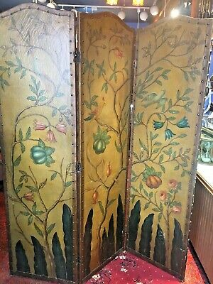 Antique Hand Painted Canvas Leather Folding Screen Room Divider Birds/flowers
