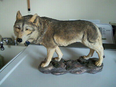 Vintage Large  Wolf Resin Alpha Male Statue 12x16