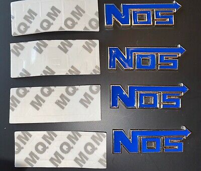 4 Chrome/Blue Metal Nitrous Nos Engine Race Motor Swap Badge For Trunk Hood Door
