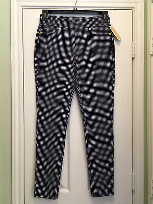 NWT$78, Michael Kors, size Medium X 29 inseam, women's navy check pull-on pants
