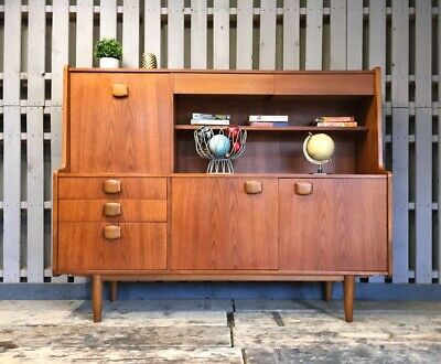 Vintage Retro Sideboard Highboard Teak Display Cocktail Cabinet Mid Century