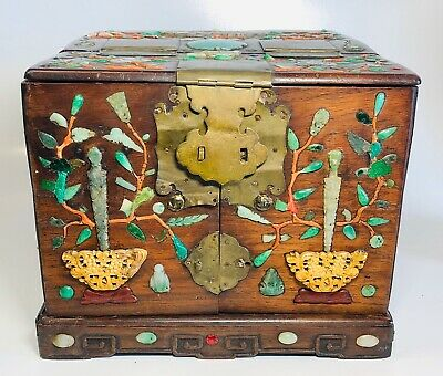 Antique 19th Century Chinese Hardwood Jade & Coral Inlaid Dressing Box AS-IS