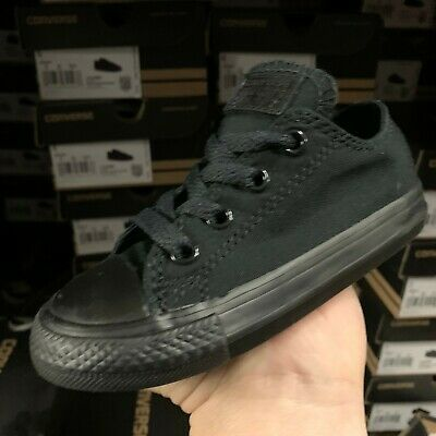 NEW INFANT TODDLER CONVERSE ALL STAR OX CHUCK TAYLOR BLACK MONO 714786F