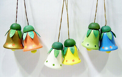 Erzgebirge Germany Flower Bell Hand Painted Wooden Wood Easter Ornaments Boxed
