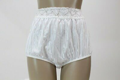 size 8 XL vintage Bestforms Panty Briefs Lace Bright white Stripes panties