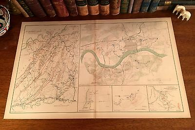 Large Original Antique Civil War Map KNOXVILLE Tennessee TN Chickamauga GEORGIA