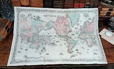Rare Original 1861 Hand-Colored Antique Map THE WORLD Mercator Projection Globe