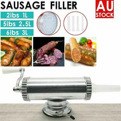 Sausage Filler Stuffer 3L Maker Horizontal Stainless Steel Meat Machine 4Nozzles