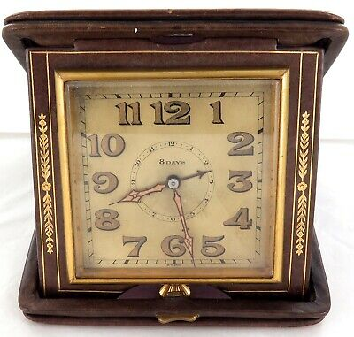 QUALITY / EARLY 1900s / LEATHER CASE / SWISS MADE LARGE 8 DAY TRAVEL CLOCK.