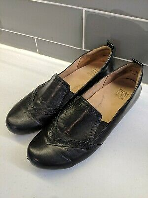 Ziera Comfort Shoes Black Super Support Leather Flats Slip On Loafer Size 42