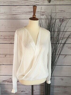 NWT ANN TAYLOR LOFT small SHEER WHITE POLKA DOT V NECK LONG SLEEVE TOP