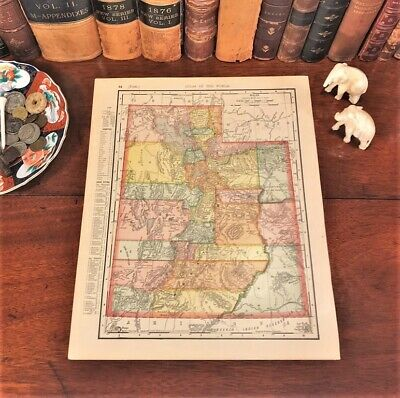 Original 1898 Antique Map UTAH Provo Orem Sandy Ogden Layton Murray Logan Draper