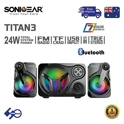 PC Computer Stereo 2.1 Speaker Bluetooth/USB/FM/AUX Multi-Color LED Titan3