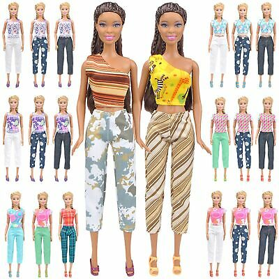 5 Set Doll Clothes Casual Wear Outfit 5 Tops 5 Trousers Pants For Barbie Doll