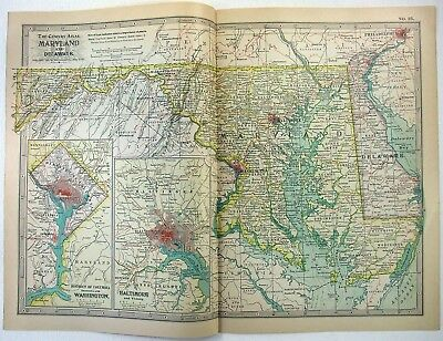 Original 1897 Map of Maryland & Delaware by The Century Company