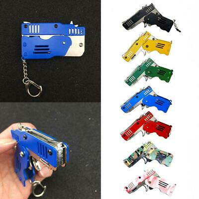 Mini Folding Rubber Band Holder Metal Gun Keychain Toy Gifts Tools New