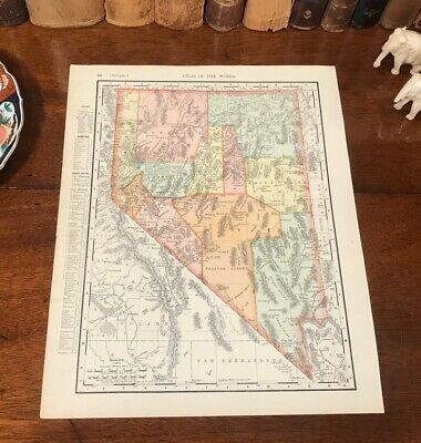 Original 1898 Antique Map NEVADA Henderson Reno Sparks Elko Boulder Carson City