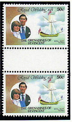 St VINCENT GRENADINES 1981 ROYAL WEDDING 50c VAL IN GUTTER PAIRS EX BOOKLET MNH