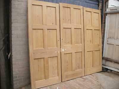 Large reclaimed Edwardian 6 panel stripped pine doors (10 available)