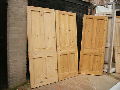Large reclaimed Victorian or Edwardian 4 panel stripped pine doors