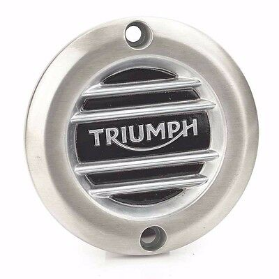 Triumph Street Cup Brushed Ribbed Clutch Cover Badge A9610252