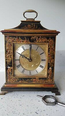 Caddy Shape Chinoiserie Chinese Lacquered Bracket/ Mantel Clock Working Order