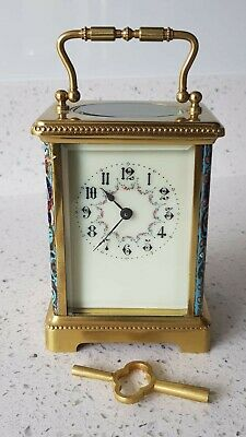 Champleve Enamel French four glass Carriage clock serviced fully working order